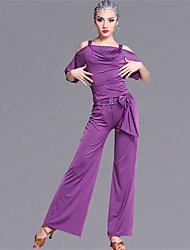 Danse latine Tenue Femme Spectacle Viscose 2 Pièces La moitié des manches Taille moyenne Haut Pantalon