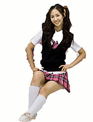 Cosplay Costumes Student/School Uniform Festival/Holiday Halloween Costumes Black Solid Carnival Female Cotton