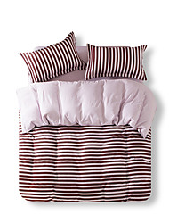 Mingjie Reactive Print Brown StripeBedding Sets 4 Pcs for Queen Size Contain 1 Duvet Cover 1 Bedsheet 2 Pillowcases from China