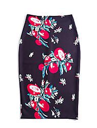 Mujer Tallas Grandes Faldas,Corte Bodycon Floral Separado,Adorable Chic de Calle Tiro Alto Casual/Diario Vacaciones Hasta la Rodilla