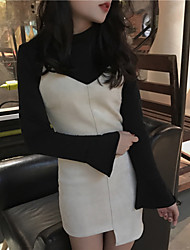 Real shot in Europe and America minimalist high-necked long-sleeved T-shirt irregular leather retro velvet Dress two sets
