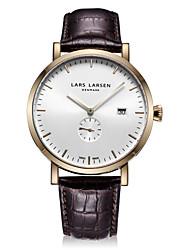 Men's Fashion Watch Swiss Quartz Stopwatch Quartz Genuine Leather Band Casual Brown
