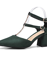 Feminino-Saltos-Sapatos clube-Salto Grosso Salto de bloco--Flanelado-Casual
