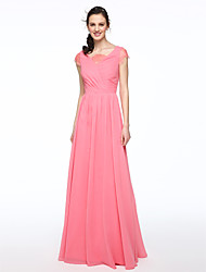 LAN TING BRIDE Floor-length V-neck Bridesmaid Dress - Elegant Short Sleeve Chiffon