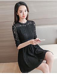 signer 2017 printemps nouvelle version coréenne de la dentelle ajourée robe tempérament taille mince jupe un mot creux