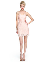LAN TING BRIDE Short / Mini Sweetheart Bridesmaid Dress - Mini Me Sleeveless Lace Taffeta