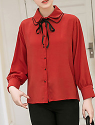 Women's Casual/Daily Work Party/Cocktail Street chic Sophisticated All Seasons Spring Shirt,Solid Asymmetrical Long Sleeve Red White Black