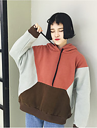 Sign 2016 winter new Korean version of Harajuku style stitching wide prednisone plus thick velvet hooded sweater hedging