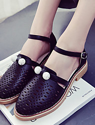 Flats Spring Club Shoes PU Casual Flat Heel Hollow-out Black Green White
