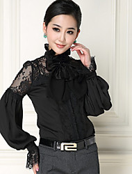 Women's Work Simple Shirt,Solid Stand Long Sleeve White Black Silk