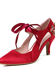 Damen-High Heels-Party & Festivität Kleid-Satin-Stöckelabsatz-Knöchelriemen-Purpur Rot Blau
