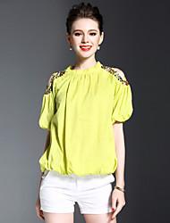 Feminino Camisa Social Para Noite Simples Primavera Verão,Sólido Poliéster Colarinho Chinês Manga Curta