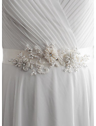 Satin Wedding Party/ Evening Dailywear Sash-Beading Imitation Pearl Women's 98 ½in(250cm) Beading Imitation Pearl