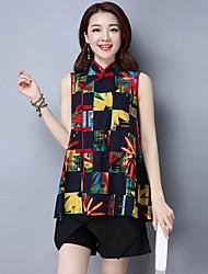 2017 new national wind printing loose sleeveless shirt Pankou