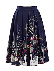 Women's Floral Patterns A Line Print Skirts,Going out Party/Cocktail Vintage Mid Rise Knee-length Zipper Cotton Polyester Micro-elastic Summer