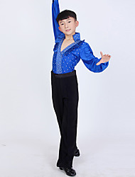 Boy's Latin Dance Outfits Children's Performance Polyester Pleated Polka Dots 2 Pieces Long Sleeve High Top Pants Dance Costume