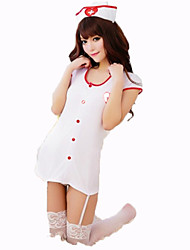 Cosplay Costumes Nurse Festival/Holiday Halloween Costumes White Solid Carnival Female Nylon