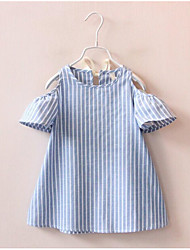 Girl's Solid Striped Dress,Cotton Summer Short Sleeve
