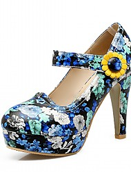 Femme-Bureau & Travail Habillé Décontracté-Bleu Violet-Gros Talon-Confort-Chaussures à Talons-Similicuir