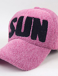Women Autumn Winter Embroidery Letter Printing Plush Baseball Cap