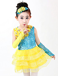 Latin Dance Dress Outfits For Girls Children's Performance Polyester Sequins Splicing 4 Pieces Sleeveless High Ballet Dance Dress Headpieces Bracelets