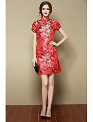 Feminino Evasê Vestido,Para Noite Festa/Coquetel Fofo Temática Asiática Floral Colarinho Chinês Acima do Joelho Manga Curta Vermelho