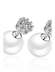 Earring 925 Sterling Silver Crown Imitation Pearl Stud Earrings Jewelry Wedding Party Daily Casual