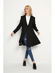 Women's Going out Vintage Spring Coat,Solid Stand Long Cotton