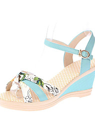 Damen Sandalen Komfort PU Frühling Normal Komfort Flacher Absatz Weiß Blau Rosa Flach
