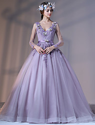 Formal Evening Dress Ball Gown V-neck Court Train Lace Tulle Stretch Satin withAppliques Beading Flower(s) Lace Pearl Detailing Sash /