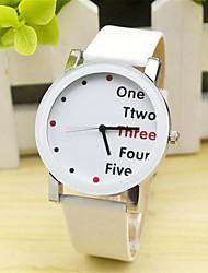 Жен. Муж. Модные часы Кварцевый Кожа Группа С подвесками Повседневная Часы с текстом Черный Белый