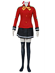 Inspired by Fairy Tail Anime Cosplay Costumes School Uniform Red for Female Kid
