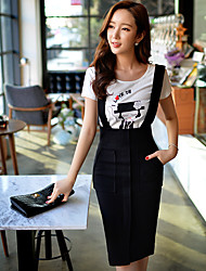 T-shirt Da donna Per uscire Casual Vacanze Semplice Romantico Moda città Estate,Con stampe Monocolore Rotonda Cotone Elastene Manica corta