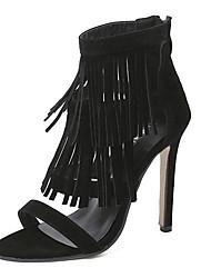 Sandals Summer Gladiator Fleece Dress Stiletto Heel Tassel Black Brown