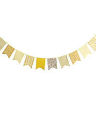 3.2m 12Flags Yellow Pattern Banner Pennant Cotton Bunting Banner Booth Props Photobooth Birthday Wedding Party Decoration