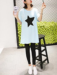 Tee-shirt Femme,Couleur Pleine Décontracté / Quotidien simple Printemps Eté Manches Courtes Col Arrondi Coton Fin