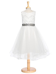 Ball Gown Tea-length Flower Girl Dress - Lace Tulle Jewel with Crystal Detailing Lace Sash / Ribbon