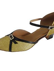 Women's Modern Dance Shoes Heel Closed Toe Ballroom Shoes with buckle Customizable