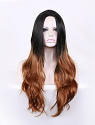 Celebrity Style Black to Brown Tow Tone Color Ombre Wig Long Layered Wave Hairstyle Root Dark Blonde Wig Synthetic Heat Resistant
