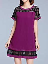 Plus Size Casual/Daily Simple Loose Dress,Solid Mesh Round Neck Above Knee Short Sleeve Polyester Blue Pink Black Purple Summer Mid Rise