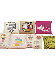 Set of 7 Mother 's Day series  pattern   Linen Pillowcase Sofa Home Decor Cushion Cover
