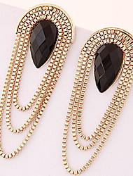 The trend of gold metal drop earrings earrings 0430# new lady temperament tassel