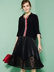 OULIE Women's Going out Simple Spring Summer BlouseStriped Shirt Collar  Sleeve Red Black Silk