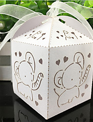 100pcs Elephant Laser Cut Hollow Carriage Favors Box Gifts Candy Boxes With Ribbon Baby Shower Wedding Event Party Supplies