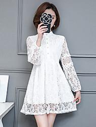 знак 2017 весной новый женщин фонарь рукав кружева крючком платье тонкий пассивом комбинезон сто