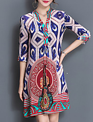 Women's Boho Going out Sophisticated Loose Dress,Print V Neck Above Knee ½ Length Sleeve Silk Polyester Blue Spring Summer Mid Rise Micro-elastic