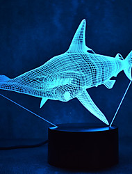Natal tubarão toque escurecimento 3d levou luz da noite 7colorful decoração atmosfera lâmpada novidade iluminação luz de Natal
