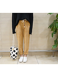 Sign retro corduroy pants elastic waist casual trousers harem pants feet