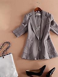 Blazer Femme,Couleur Pleine Sortie simple Printemps Manche 3/4 Revers Cranté Court lin