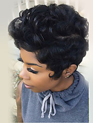 Fluffy Short Natural Curly Human Hair Wig Capless Wig Heat safe For Women 2017